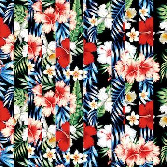 Tapeta bez szwu deseń tropikalnych kwiatów i liści paskiem patchworku