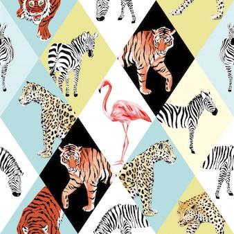 Tapeta bez szwu wzór zwierzęta tropikalne patchwork i wielokolorowy ptak
