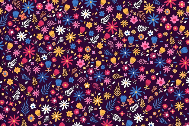 Tapeta ditsy kolorowe kwiaty