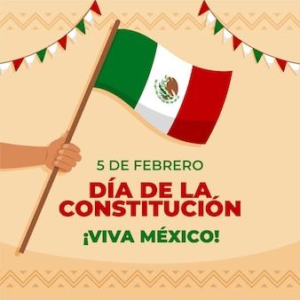 Tapeta dzień konstytucji meksyku z flagą