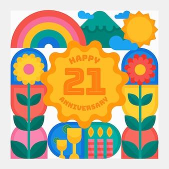 Tapeta geometryczna 21 rocznica