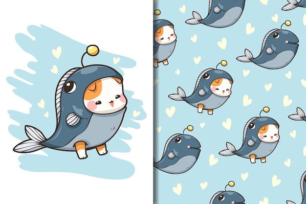 Tapeta i wzór słodki potwór kot i ryba
