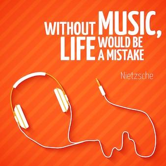 Tapeta muzyczna z jasnymi słuchawkami