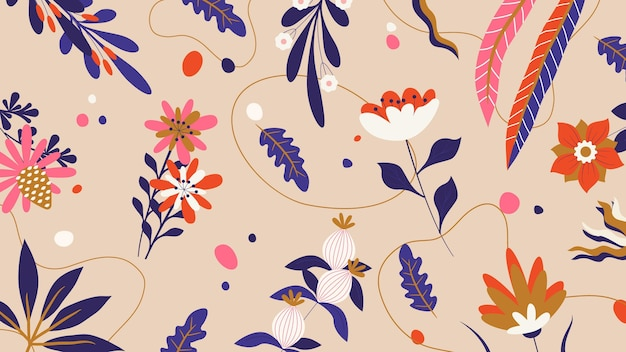 Tapeta na pulpit wiosna kwiatowy ilustracja memphis