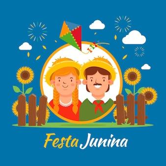 Tapeta płaska festa junina