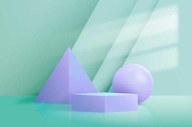 Tapeta podium z geometrycznymi kształtami 3d