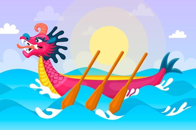 Tapeta smoczych łodzi ze słońcem i morzem