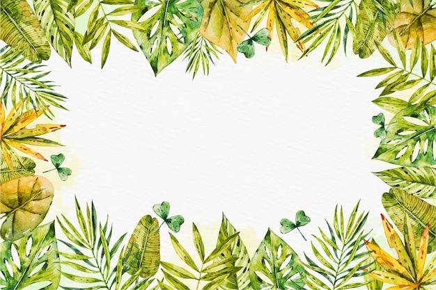 Tapeta tropikalnych liści z pustą przestrzenią