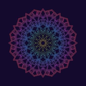 Tapeta w tle gradientu kolorowej mandali. motyw kwiatowy w neonowym kolorze. arabeska tkanina tekstylna. lub. tkanina tekstylna.