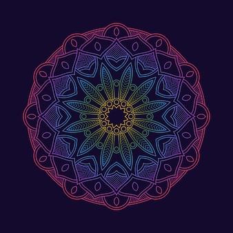 Tapeta w tle gradientu kolorowej mandali. motyw kwiatowy w neonowym kolorze. arabeska z tkaniny.