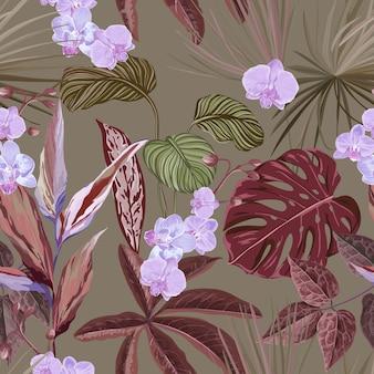 Tapeta z kwiatowym nadrukiem z egzotycznymi kwiatami orchidei, bezszwowe tło tropikalne z roślinami lasów deszczowych philodendron i monstera, kwiaty i liście dżungli, ornament natury. ilustracja wektorowa