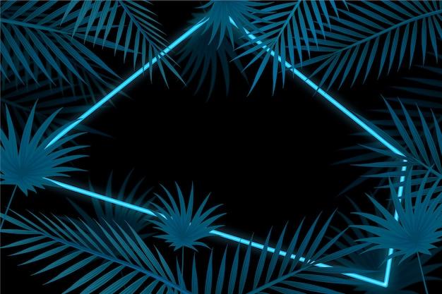 Tapeta z realistycznymi liśćmi z motywem neonowej ramki