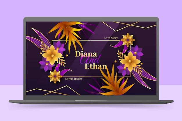 Tapeta z zaproszeniem na ślub na ekranie laptopa