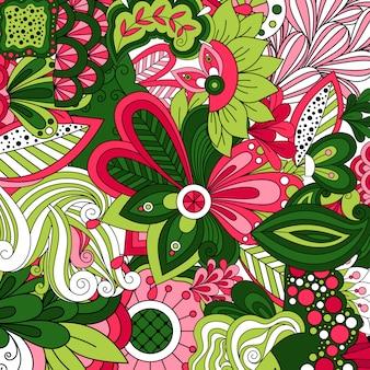 Tapeta z zielonymi kreskówkami stylizowanymi kwiatami
