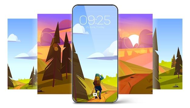 Tapety wygaszacza ekranu na smartfona z letnim krajobrazem z polami drzew i wektorem turysty ...