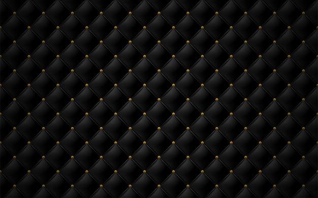 Tapicerowana sofa w kolorze matowej czarnej skóry i gwóźdź z brązu