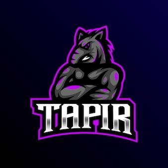 Tapir maskotka logo esport gaming