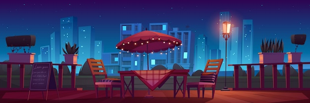 Taras kawiarni lub restauracji w nocy