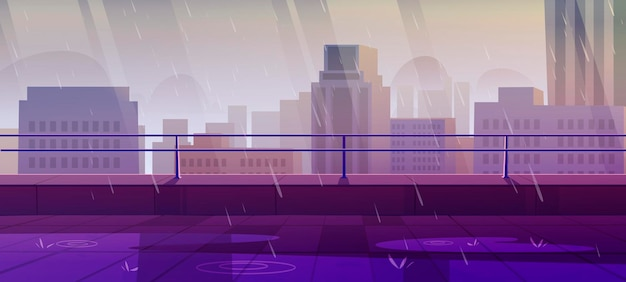Taras na dachu w deszczową, nudną pogodę z widokiem na miasto