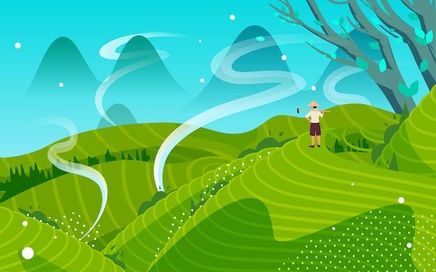 Tarasowe pola krajobraz wiejski ilustracja duszpasterska ziemia uprawna ogród herbaciany sezon żniw plakat