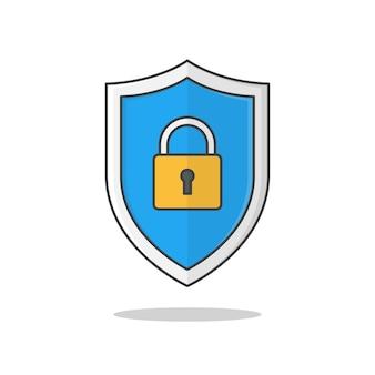 Tarcza bezpieczeństwa ikona ilustracja na białym tle