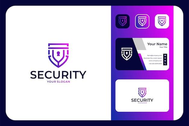 Tarcza bezpieczeństwa z kluczowym projektem logo i wizytówką