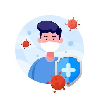 Tarcza chroń człowieka w ochronnej masce medycznej przed wirusem koronowym w stylu płaskiej. światowy wirus corona i koncepcja ataku covid-19.