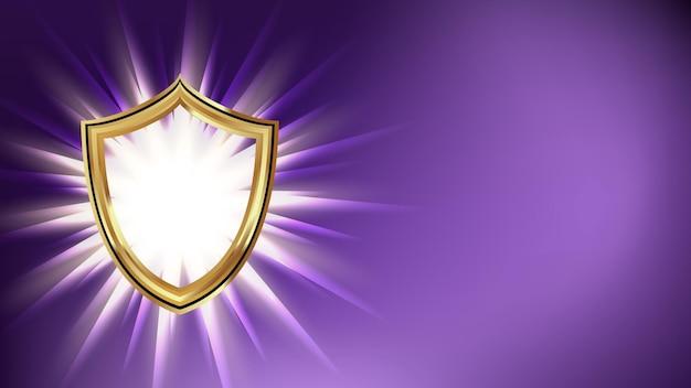 Tarcza cyberprzestrzeni bezpieczeństwa transparent miejsce wektor. technologia cyberbezpieczeństwa zapewniająca bezpieczne informacje o prywatności danych. ochrona sieci internetowej szablon usługi internetowej realistyczna ilustracja 3d