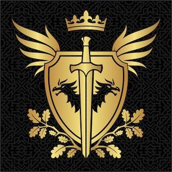 Tarcza heraldyka z smokami, skrzydłami i mieczem na tle wzoru