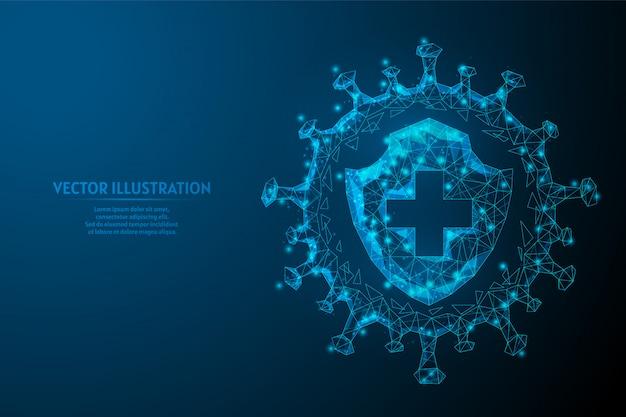Tarcza i infekcja. ochrona przed wirusem, walka z koronawirusem covid-19. szczepionki, antybiotyki, medycyna, innowacyjna technologia medyczna.