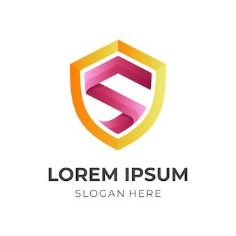 Tarcza i litera s, logo kombinacji w stylu żółtym i czerwonym 3d