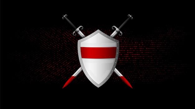 Tarcza i miecz na czarno-czerwonym tle.