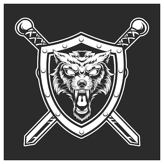 Tarcza i miecz z głową wilka
