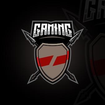 Tarcza i włócznia gaming mascot logo design ilustracja wektor