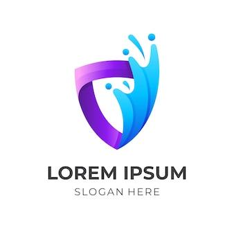 Tarcza i woda, logo kombinacji w stylu 3d w kolorze fioletowym i niebieskim