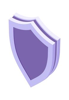 Tarcza izometryczna ikona na białym tle ilustracja wektorowa, symbol ochrony i bezpieczeństwa