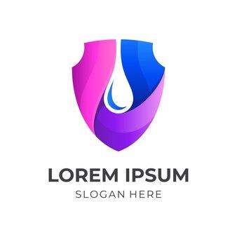 Tarcza logo wody, tarcza i woda, logo kombinacji z kolorowym stylem 3d