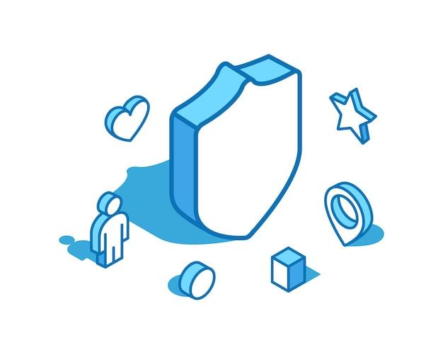 Tarcza niebieska linia izometryczna ilustracja ochroniarz d szablon transparent