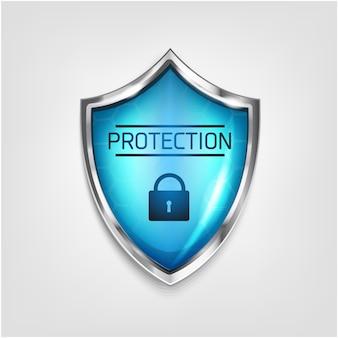 Tarcza ochronna i realistyczny zamek ikona na białym tle. ochrona przed wirusami 3d kolor czerwony