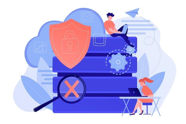 Tarcza ochronna z zamkiem, lupą i użytkownikami pracującymi z chronionymi danymi. bezpieczeństwo w internecie, prywatność i ochrona danych, koncepcja bezpiecznej pracy. ilustracja wektorowa na białym tle.