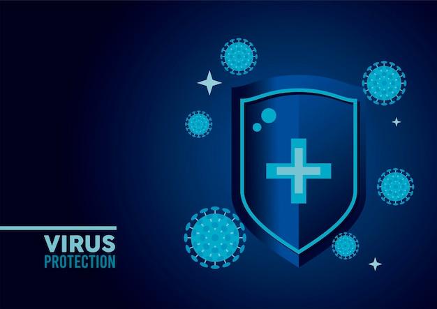 Tarcza ochrony przed wirusami z cząstkami w kolorze niebieskim ilustracji