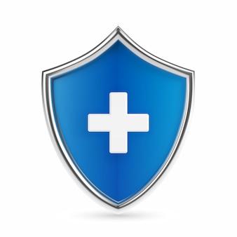 Tarcza ochrony zdrowia medycznego z krzyżem. medycyna opieki zdrowotnej chronione streszczenie koncepcja tarczy straży. obsługa ubezpieczeń zdrowotnych, medycznych i na życie. ilustracja wektorowa realistyczne.