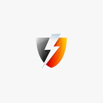 Tarcza symbol thunderbolt szablon projektu logo energia energia elektryczna