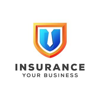 Tarcza z szablonu projektu logo firmy ubezpieczenia ubezpieczenia krawat