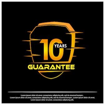 Tarcza z tekstem gwarantującym dziesięć lat ikony