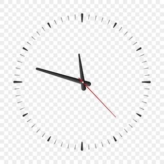 Tarcza zegara wektor ilustracja kreskówka prosty zegarek realistyczny zegarek makieta przezroczyste tło