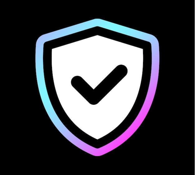 Tarcza znacznik wyboru logo holograficzny kolor ikony szablon projektu, ilustracji wektorowych.