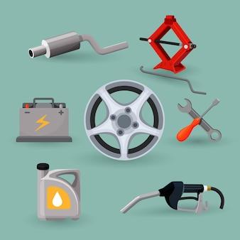Tarcze koła i narzędzia robocze zestawu serwisowego samochodu. regulowany podnośnik, akumulator, kanister z benzyną, rury wydechowe, śrubokręt klucz, rączka benzyny. przyrządy do naprawy ilustracji samochodu