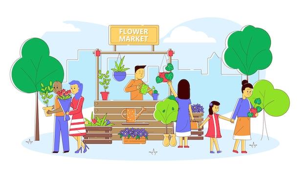 Targ kwiatowy z linią ludzie ilustracja wektorowa mężczyzna kobieta postać kup kolorowe rośliny w sklepie p...