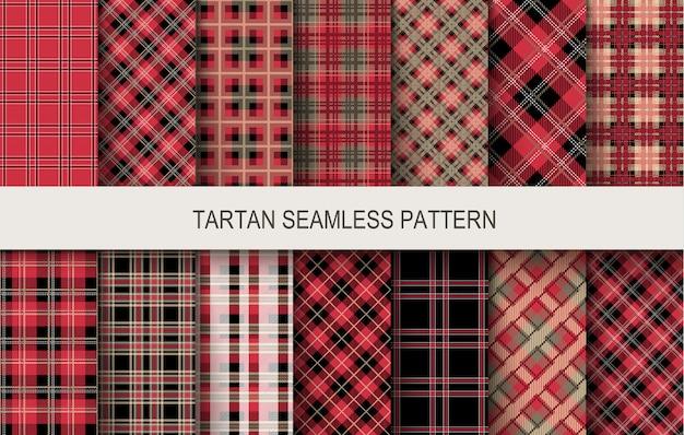 Tartan bez szwu wzorów w kolorach czerwonym i czarnym